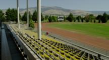 High School Track, View From Empty Grandstand