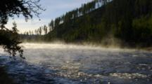 Steam Rising On Yellowstone River, Early Morning Blue Sky, Fall
