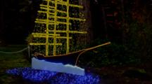 Christmas Lights In Shape Of Ship, Outdoor, Colorful, Nautical Theme