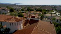 Overlook View Of Santa Barbara Red Tiled Rooftops, Bay In Distance, Pan