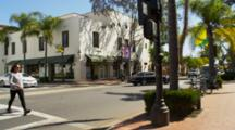 Santa Barbara, State Street Intersection, Busy, Traffic, Shops, Pedestrians