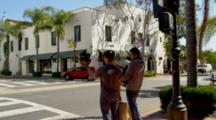 Santa Barbara, State Street Intersection, Busy, Traffic, Men Carrying Packages, Pedestrians