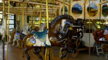 Merry-Go-Round Or Carousel Of Horses Rotates, No Riders