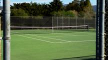 Empty Tennis Court, View Through Fence, Zoom In