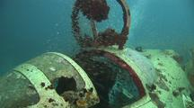 Cockpit Of Wreck Of Betty Bomber, Mitsubishi G4m Bomber In Chuuk (Truk) Lagoon And Accessories