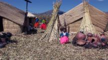 Indigenous Women And Children On Floating Reed Island