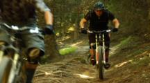 Three Mountain Biker Ride Through A Rooted Trail.