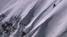 Skier On Steep Face Sets Off Small Avalanche
