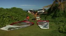 Keith Sets Up Windsurfers On Grass
