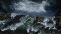 Aerial Kayaker Going Off A Big Waterfall