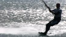 Kiteboarder Does Slalom Turns Then Banks