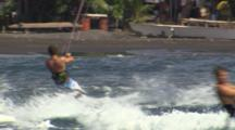 Tracking A Kiteboarder Riding Near Beach
