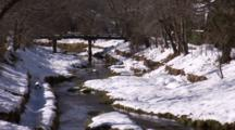 Winter Scene, Stream With Snowy Banks