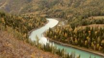 River Flows Past Fall Trees In Xinjiang, China
