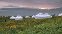 Yurts Set Up At Lakeside In Xinjiang, China