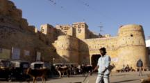 People, Cows And Birds At At Jaisalmer Fort In India