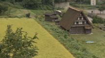 Thatched Roof House And Rice Field In Toyama, Japan