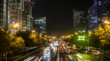 Time Lapse Lights Of Traffic At Night In Beijing, China