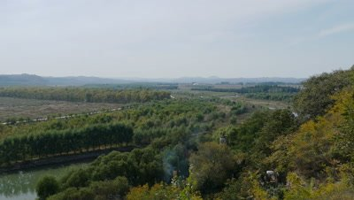 View from Wanfotang Grottoes, Yi County, Liaoning, China