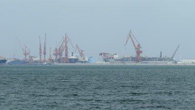 Crane Vessel on Sea in Bohai Bay, Qinhuangdao, Hebei, China