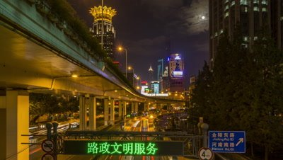 Car Light Streaks on the Road, Shanghai, China
