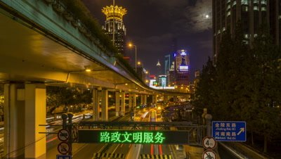 Car Light Streaks on the Road, Shanghai, China