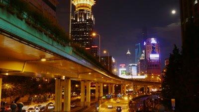 Night View of Shanghai City, China