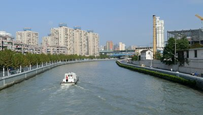 Boat Cruising on Suzhou Creek, Shanghai, China