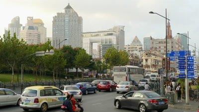 Bustling Traffic in Shanghai, China