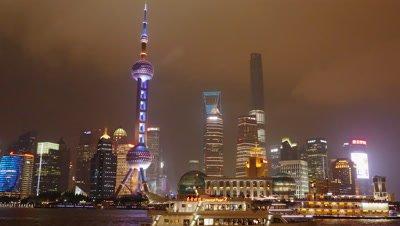 Pudong New District at Night, Shanghai, China