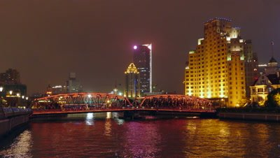 The Waibaidu Bridge at Night, Shanghai, China