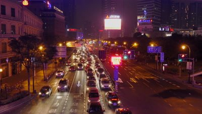 Hustle Traffic at Night in Shanghai, China