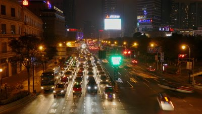Hustle Traffic at Night in Shanghai, China