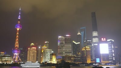 Pudong New District at Night, Shanghai, China