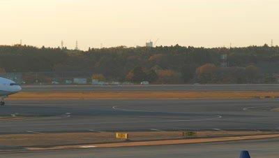 Airplane Taxiing on the Runway, Narita, Chiba, Japan