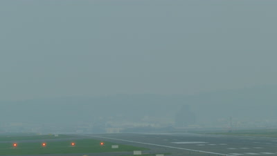 Airplane landing at Taiwan Taoyuan International Airport in Taiwan