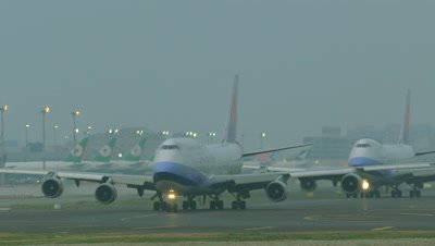Airplanes moving at Taiwan Taoyuan International Airport in Taiwan