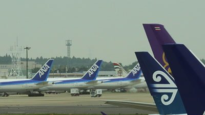 Line up of Airplanes