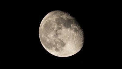 Waning Gibbous Moon Moving in Night Sky