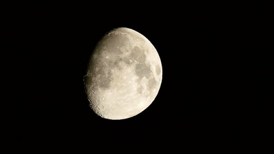 Waxing Gibbous Moon Moving in Night Sky