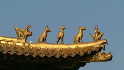 Animal Sculptures at Eave Corner of the Hall of Supreme Harmony, Beijing, China