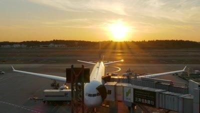 Airport Apron at Sunset, Narita, Chiba, Japan