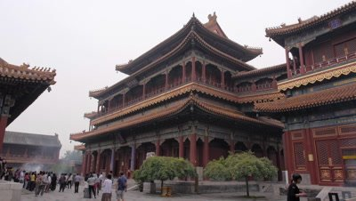 Ten-Thousand-Happiness Pavilion in Yonghe Temple, Beijing, China