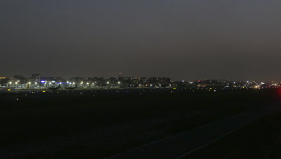Airplane departing from Taipei Songshan Airport in Taiwan