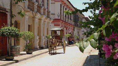 Horse-drawn Carriage on the Street, Vigan, Philipines