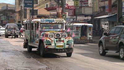 Jeepney on the Street of Philippines