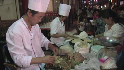 Making Chinese Meat Roll, Changzhi, Shanxi, China