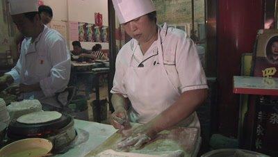 Flattening Dough with Rolling Pin, Changzhi, Shanxi, China