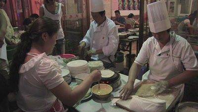 Food Preparing in Restaurant, Changzhi, Shanxi, China
