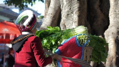 Woman Tieing up Rope of Basket Full of Vegetables for Carrying on her Back, Dali, Yunnan, China